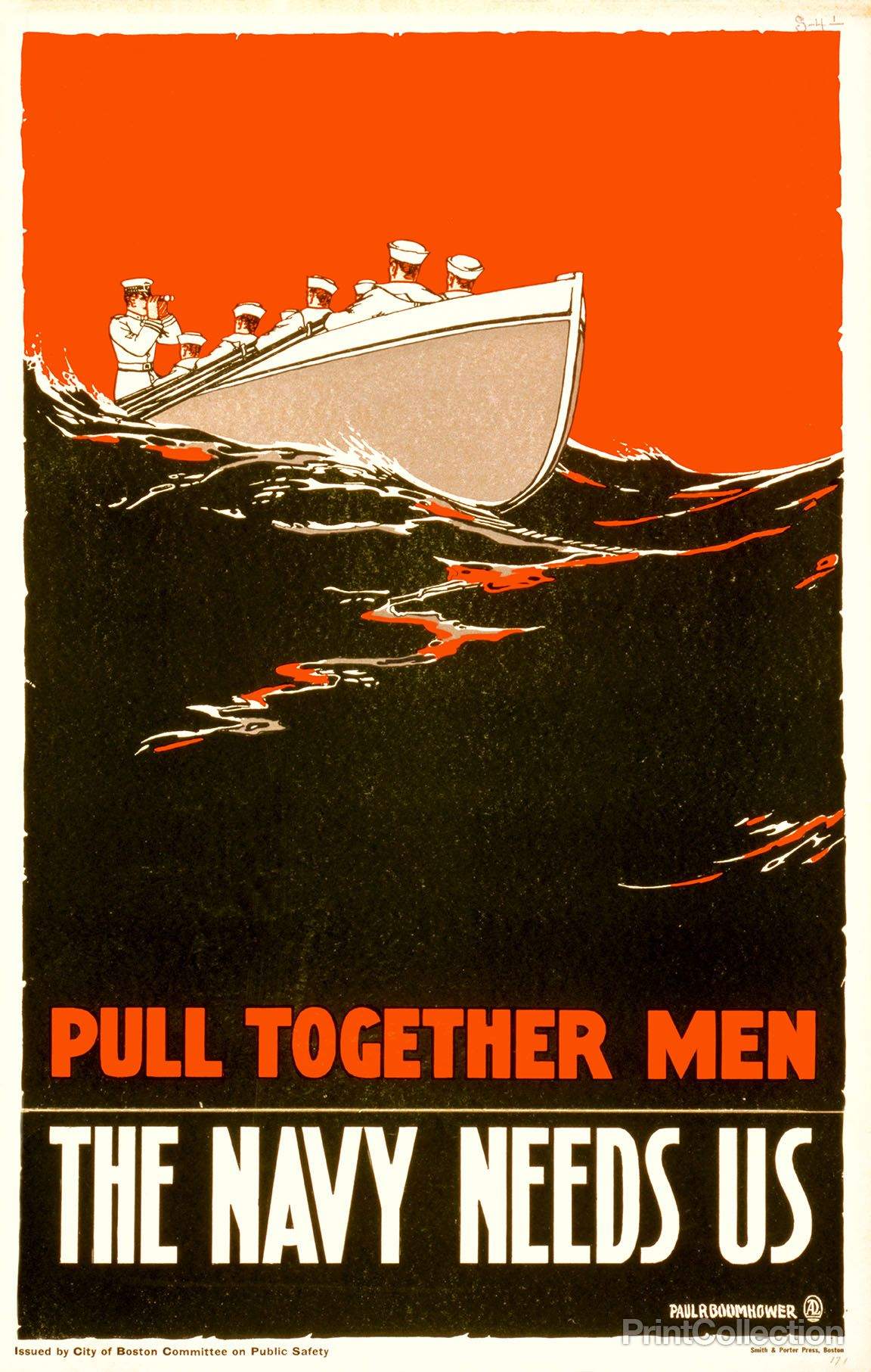 2 color poster design - Poster Created By Paul Boomhower In 1917 Showing Sailors Rowing A Boat For World War I Originally It Was As A Color