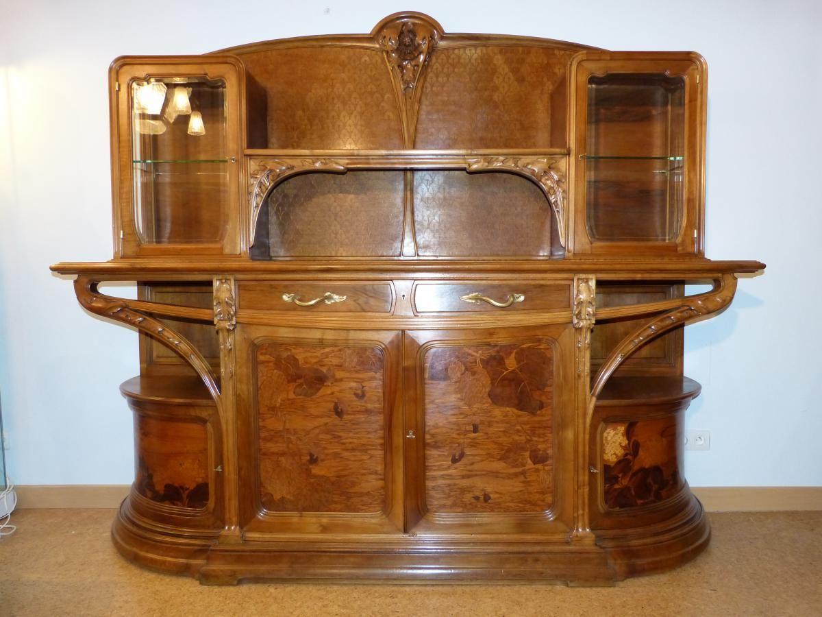 Louis Majorelle Beau Buffet Ecole De Nancy Modele Chicoree En Noyer Galerie Vaudemont Proanti Interieur Art Nouveau Meubles Art Nouveau Design Art Nouveau