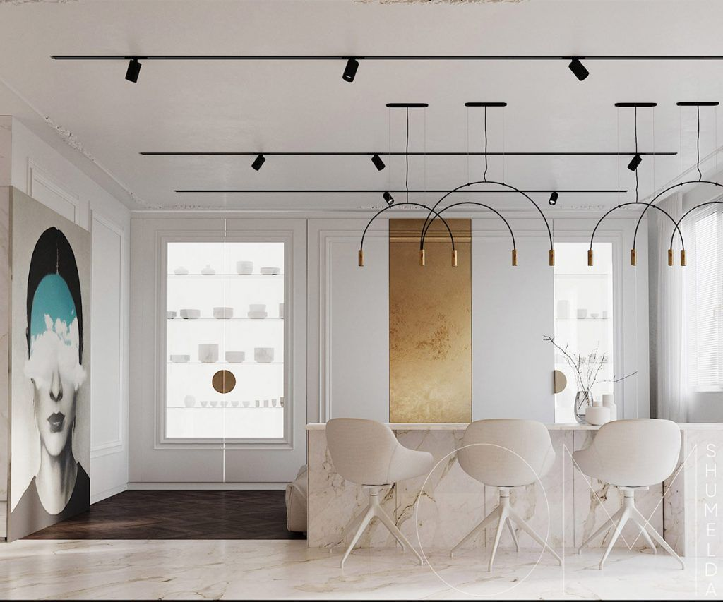 3 Luxe Home Interiors With White Marble Gold Accents Luxury