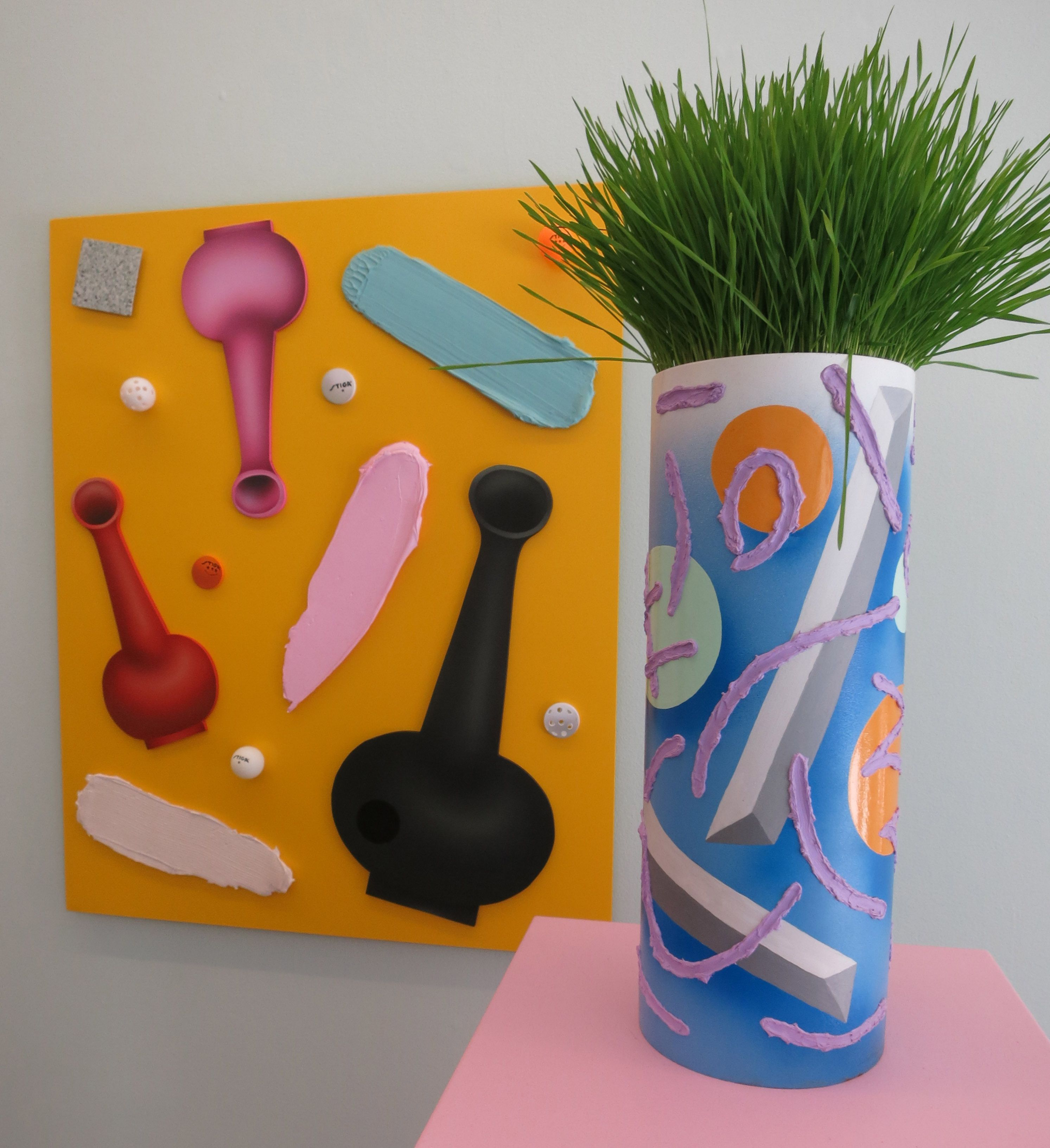 Taking an 80s aesthetic as inspiration, Ben Sander's steel vase is a surprisingly sturdy support for an abstract design of floating shapes and heavily textured lines of lavender paint. Sander's accompanying 2-D work behind likewise balances the substantial – thick marks resembling giant paint strokes – with unanchored shapes including ping pong and Wiffle balls to offer an amusing musing on taste. (At Chelsea's Asya Geisberg Gallery through June 25th). Ben Sanders, Blue Tube Dude, enamel and…