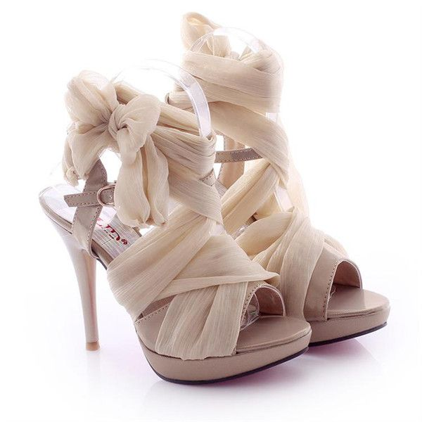 High Heel Chiffon Lace Up Sandals for Women