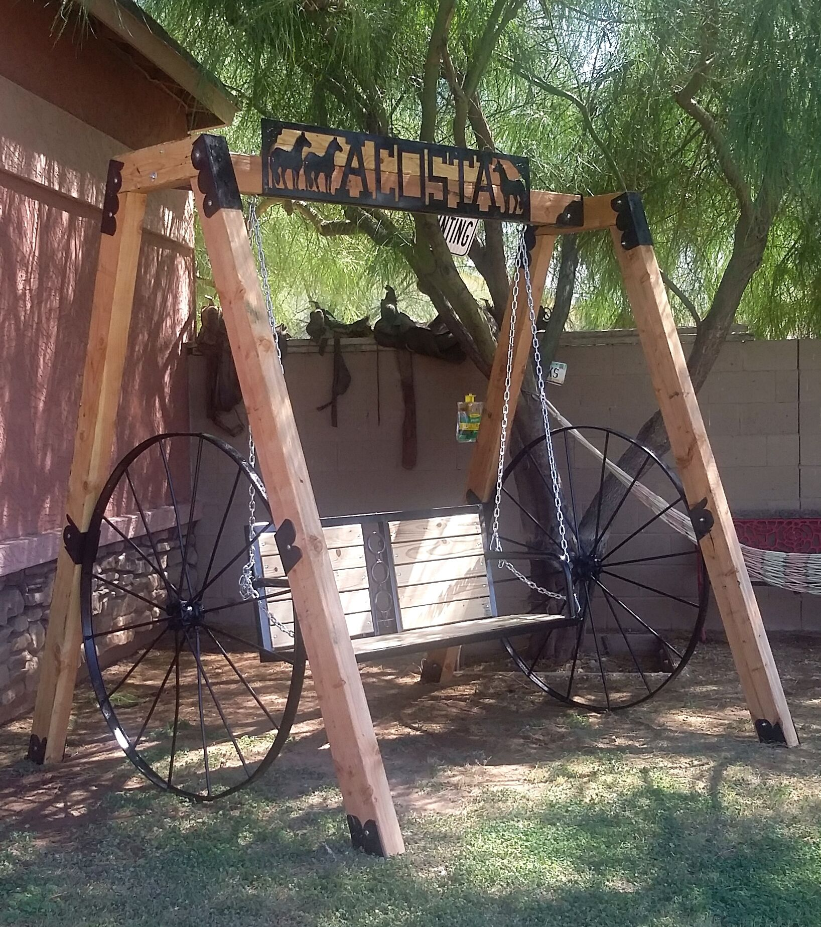 Wooded/metal wagon wheels swing set with beer holder! | Outside ...