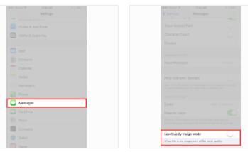 Come inviare foto in bassa qualità e risparmiare dati utilizzando lapp Messaggi di iOS 10
