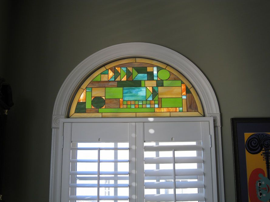 Frank Lloyd Wright Style Arched Stained Glass Window Id