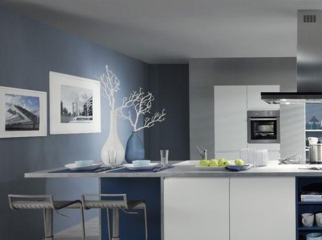 Emejing Cuisine Blanche Mur Gris Bleu Images - Design Trends 2017 ...