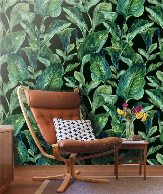 Tropical Leaves Wall Mural Self Adhesive Fabric Wallpaper Removable Repositionable Reusable Easy Peel Stick R0 Tropical Wallpaper Home Tropical Leaves