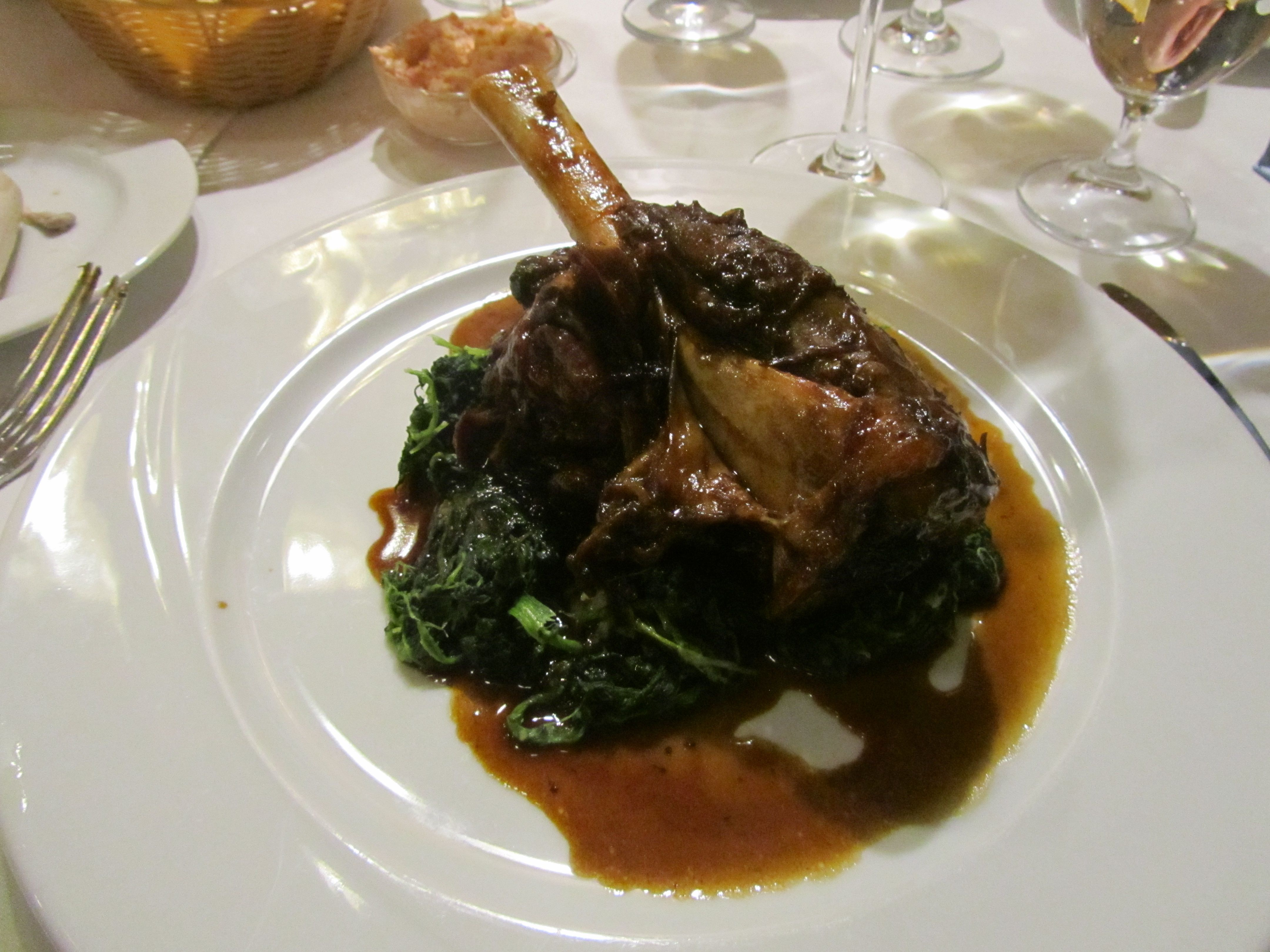 Braised shank of lamb with marjoran and creamed spinach. Cafe Imperial, Prague. http://www.cafeimperial.cz/en/