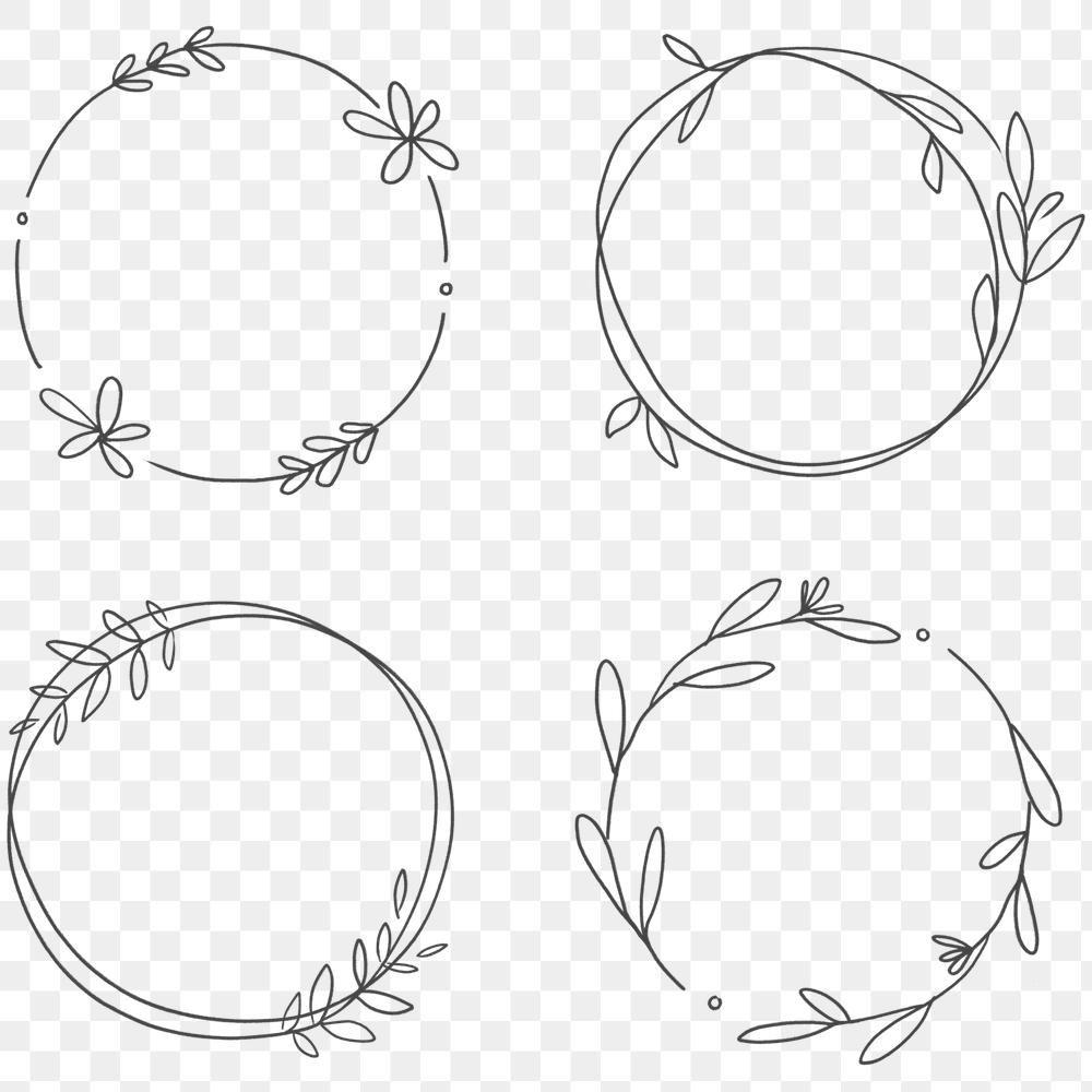 Floral Frame Set Transparent Png Premium Image By Rawpixel Com Nunny Logo Design Inspiration Wreath Drawing Love Frames