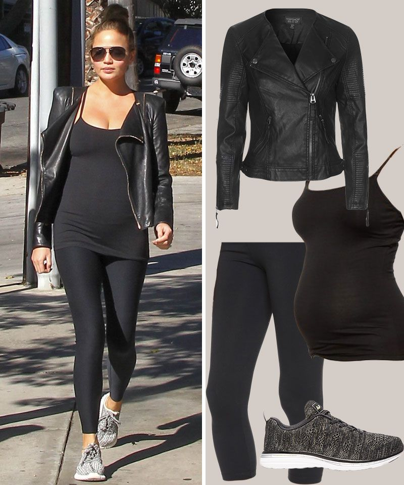 e118c856c6dca Take a cue from Chrissy Teigen and dress up your sporty look with a cool  leather jacket.
