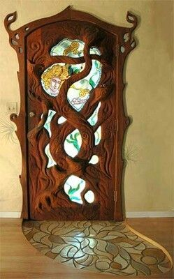 unique tree-inspired door and entry