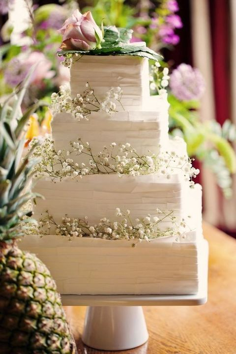 53 Square Wedding Cakes That Wow Simple Wedding Cake Wedding Cakes With Flowers Wedding Cake Toppers