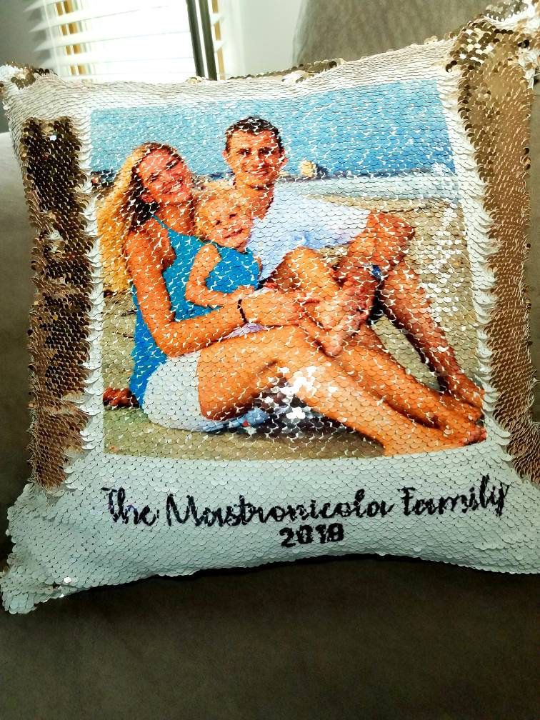 Flip sequin photo pillow mermaid sequin pillow