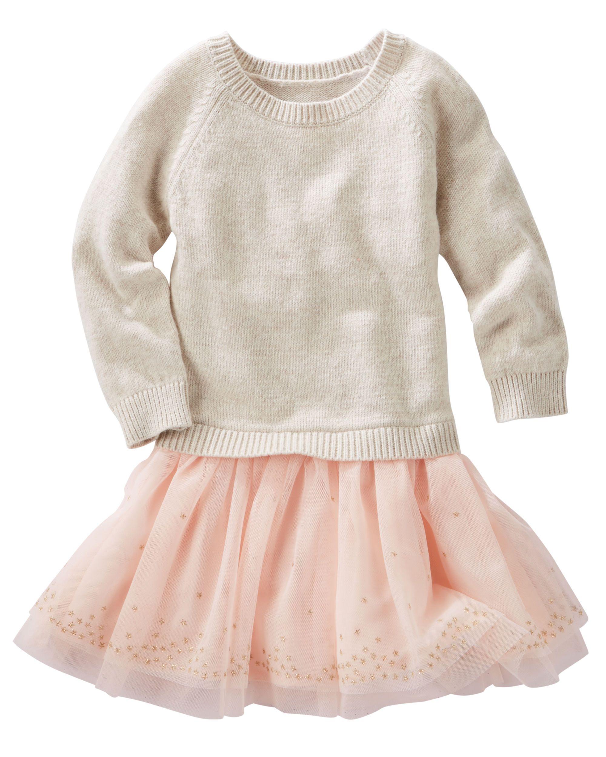 Kid Girl Mixed Sweater & Tulle Dress OshKosh