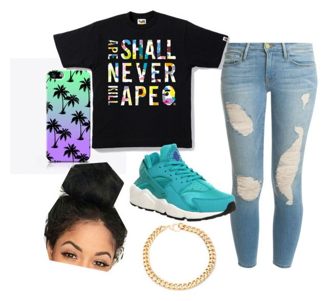"""Baddie"" by theofficialnyah on Polyvore featuring Frame Denim, NIKE and Alessandra Rich"