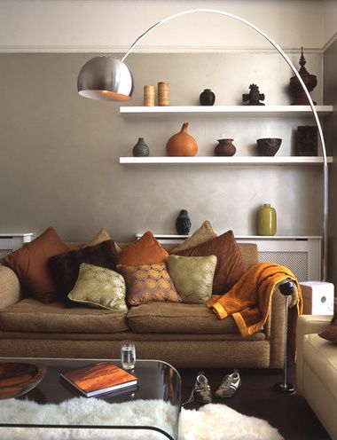 Contempoary living room with orange my christmas wishes pinterest living rooms brown and room for Orange green and brown living room