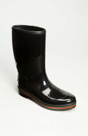 a2b223994 Signature green-and-red stripes band the base of a sturdy rubber rain boot.  Color(s)  black. Brand  Gucci. Style Name  Gucci  Brest  Rain Boot.