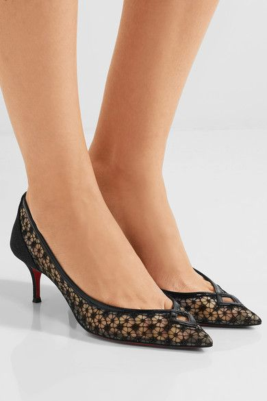 d0dbdf2ab28c CHRISTIAN LOUBOUTIN Classy Neomid 55 embroidered mesh and leather pumps