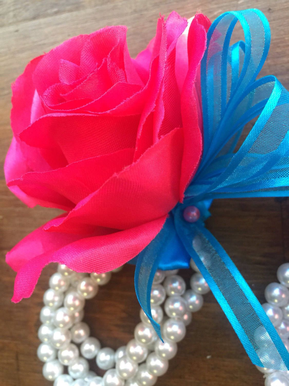 Hot Pink Wrist Corsage Pink Corsage Silk Flower Corsage Womans