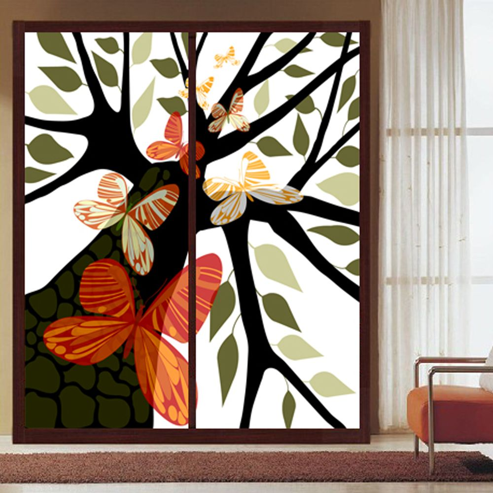 Yazi Personalized Size Made Leaf Tree Art Pvc Opaque Self Adhesive Wallpaper Window Glass Film 1mx1m Home Decor Self Adhesive Wallpaper Tree Art Home Decor