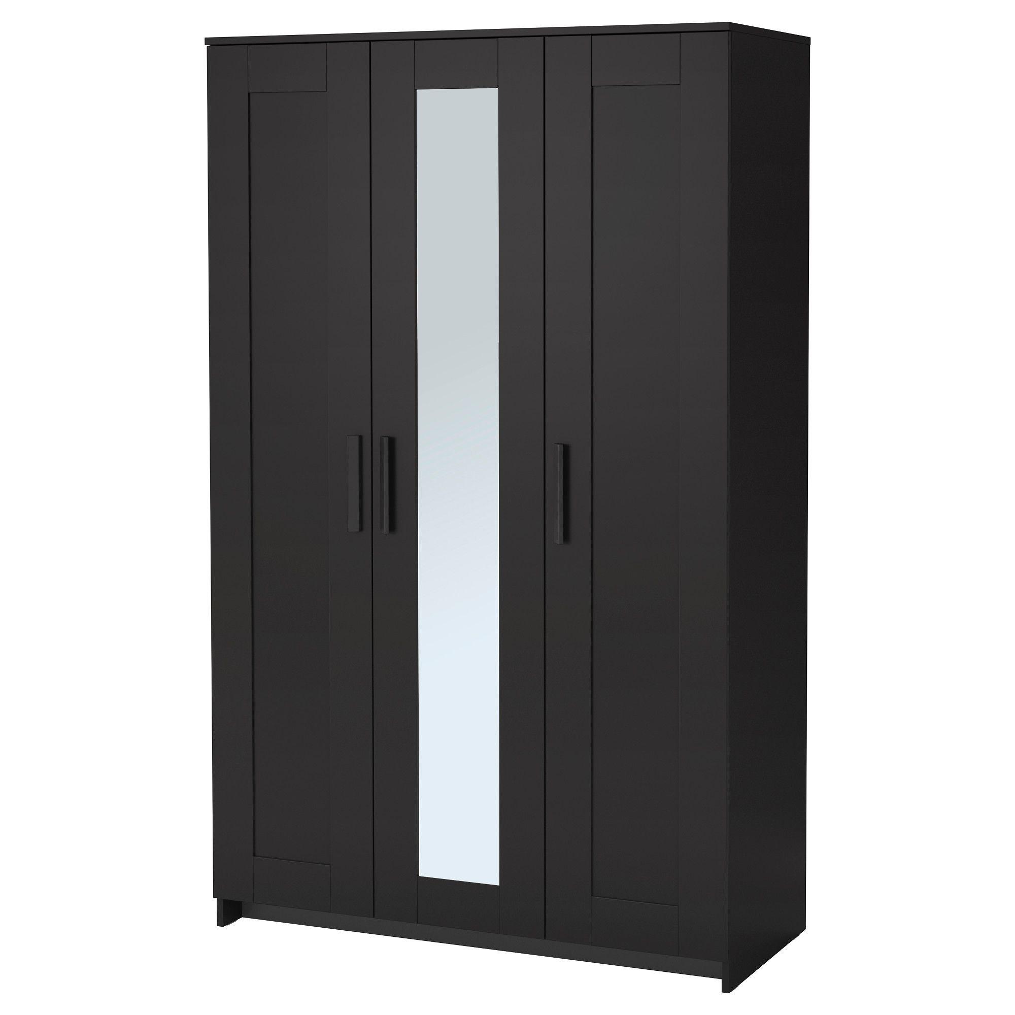 IKEA - BRIMNES, Wardrobe with 3 doors, black, , The mirror door ...