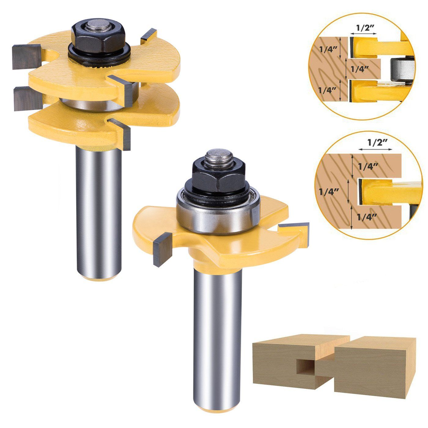 Asel Tongue And Groove Set Router Bit Set Wood Door Flooring 3 Teeth Adjustable 1 2 Inch Shank T Shape Wood Millin Woodworking Tools Router Bit Set Woodworking