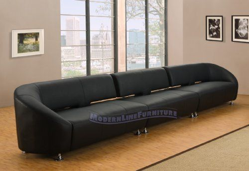 Modern Furniture Black Leather Lounge Style Extra Long