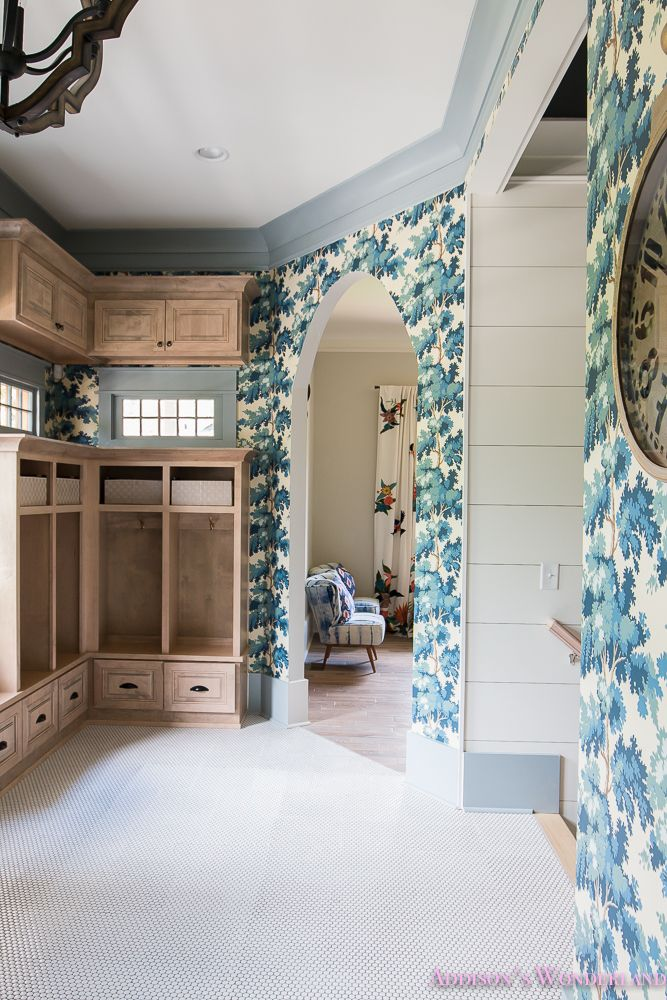 Our Dreamy Blue Wallpapered Mud Room - Addison's ...