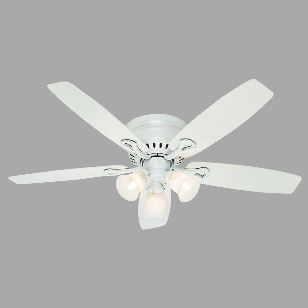 Hunter Oakhurst 52 In Indoor Low Profile White Ceiling Fan With Light 52012 White Ceiling Fan Ceiling Fan White Ceiling