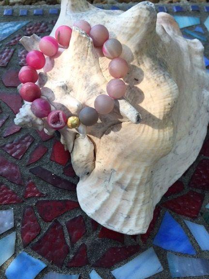 13mm Druzy Geode Ombre Pink Aura Quartz Beaded by ParvatiBeads