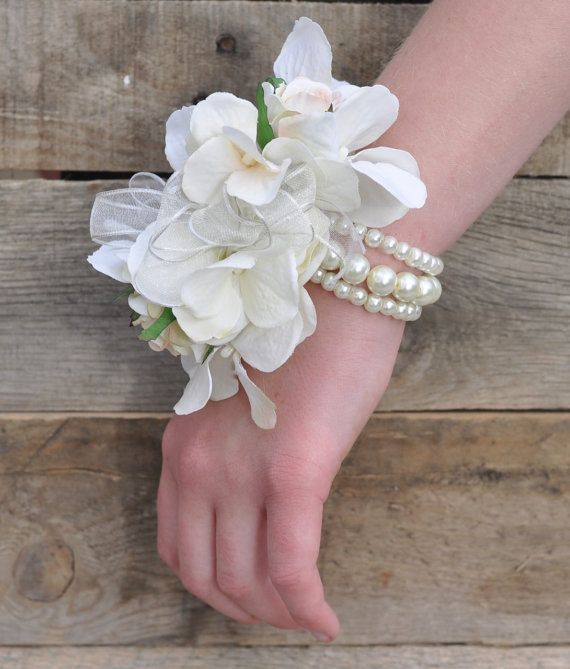 Wrist Corsage Ivory Hydrangea With Ivory Roses Faux Pearl Bracelet