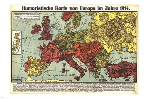 Ukraine Karte 1914.Humorous Map Of Europe 1914 Vintage German Poster Political