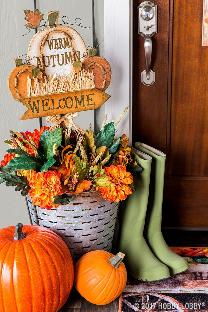 This fall, perk up your porch with outdoor pumpkin decor - Hobby Lobby Halloween Decorations