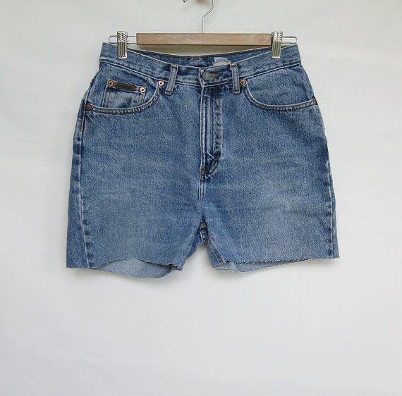 90s Calvin Klein High Waist Denim Shorts Small #etsy #CutOffs #HighWaist #CalvinKlein