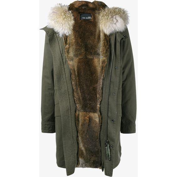 YVES SALOMON Rabbit Fur Lined Parka with Coyote Fur Hood YqxoG