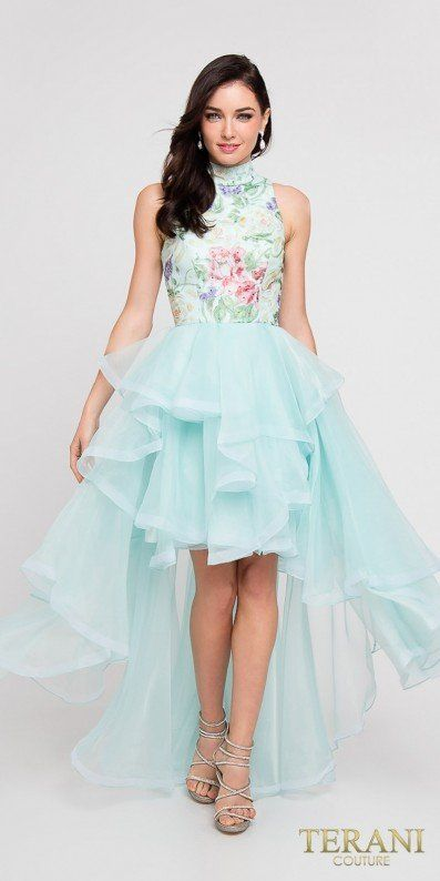 The High Neck Floral Print Layered High Low Tiered Organza Prom ...