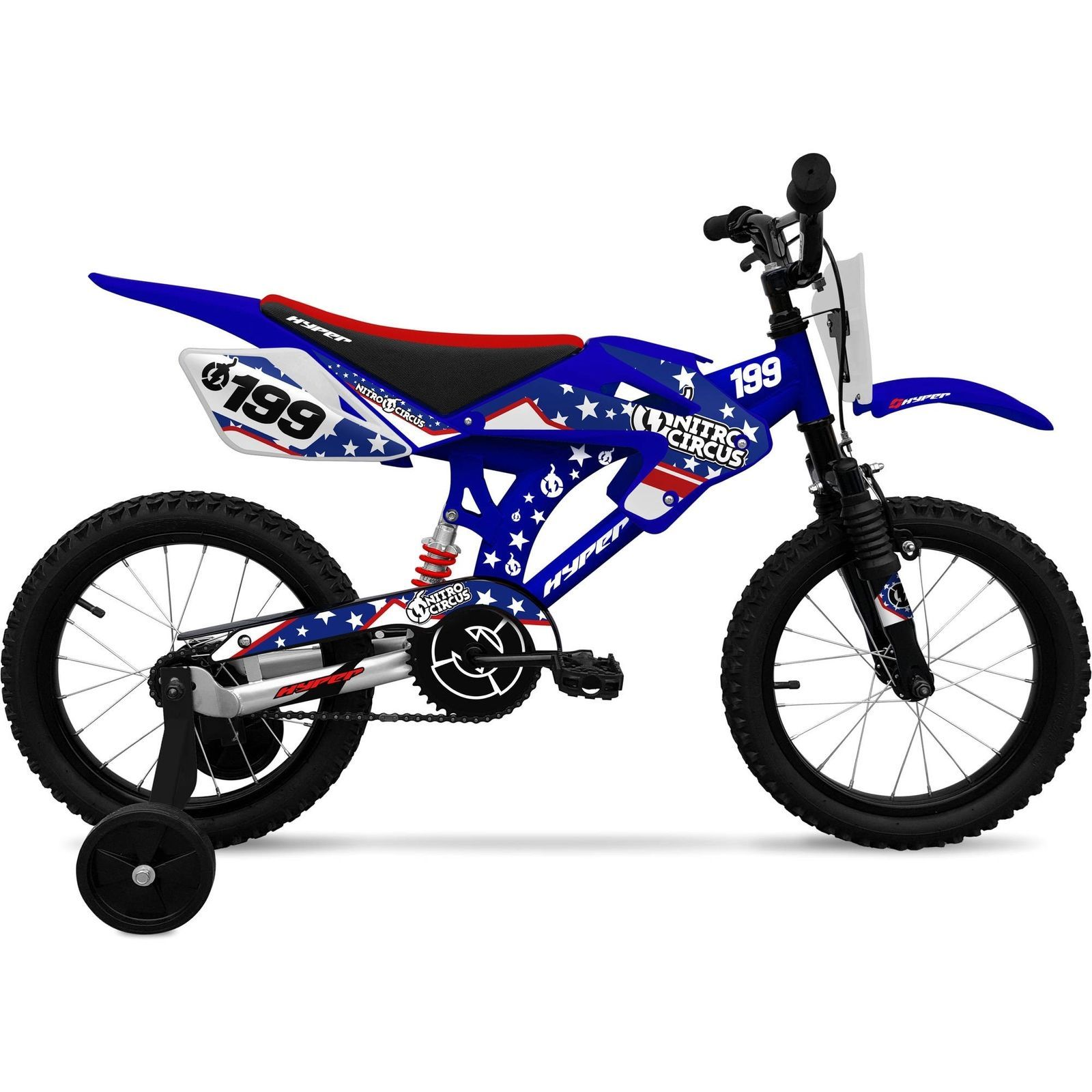 Boys Hyper 16 Nitro Circus Motobike Kids Bike Blue With Training