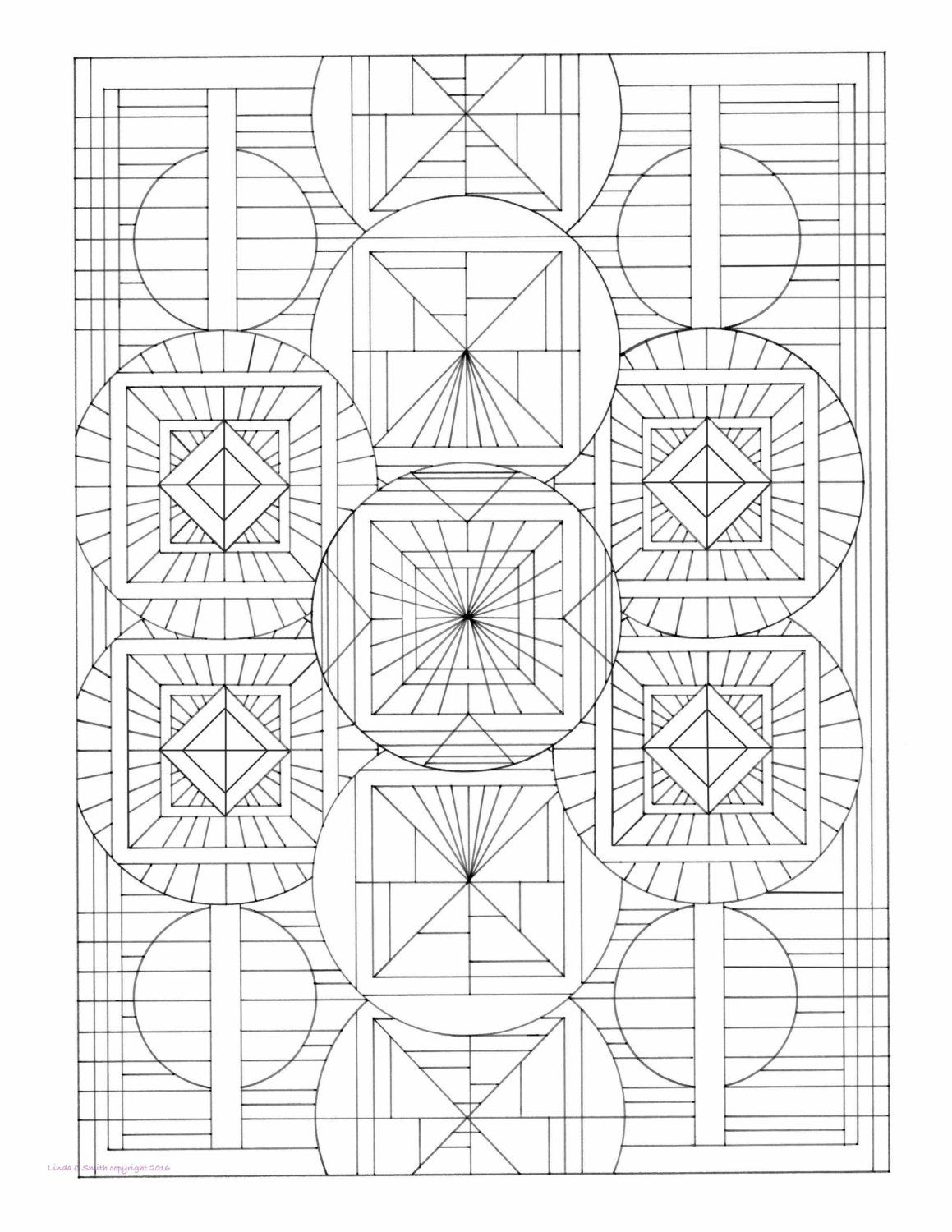Circular geometric color book page instant by lindacsmithfineart