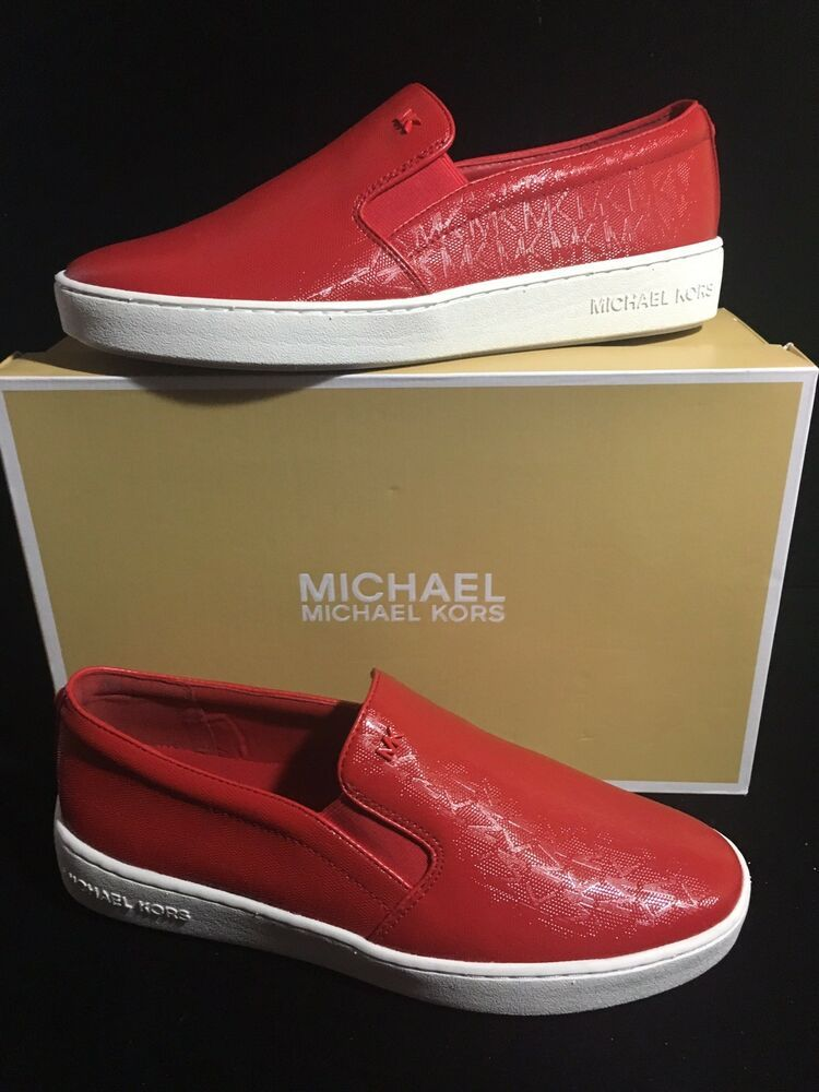 457fba0ad8 Michael Kors Keaton Size 10 Embossed Sneaker Bright Red Slip On New  99.00