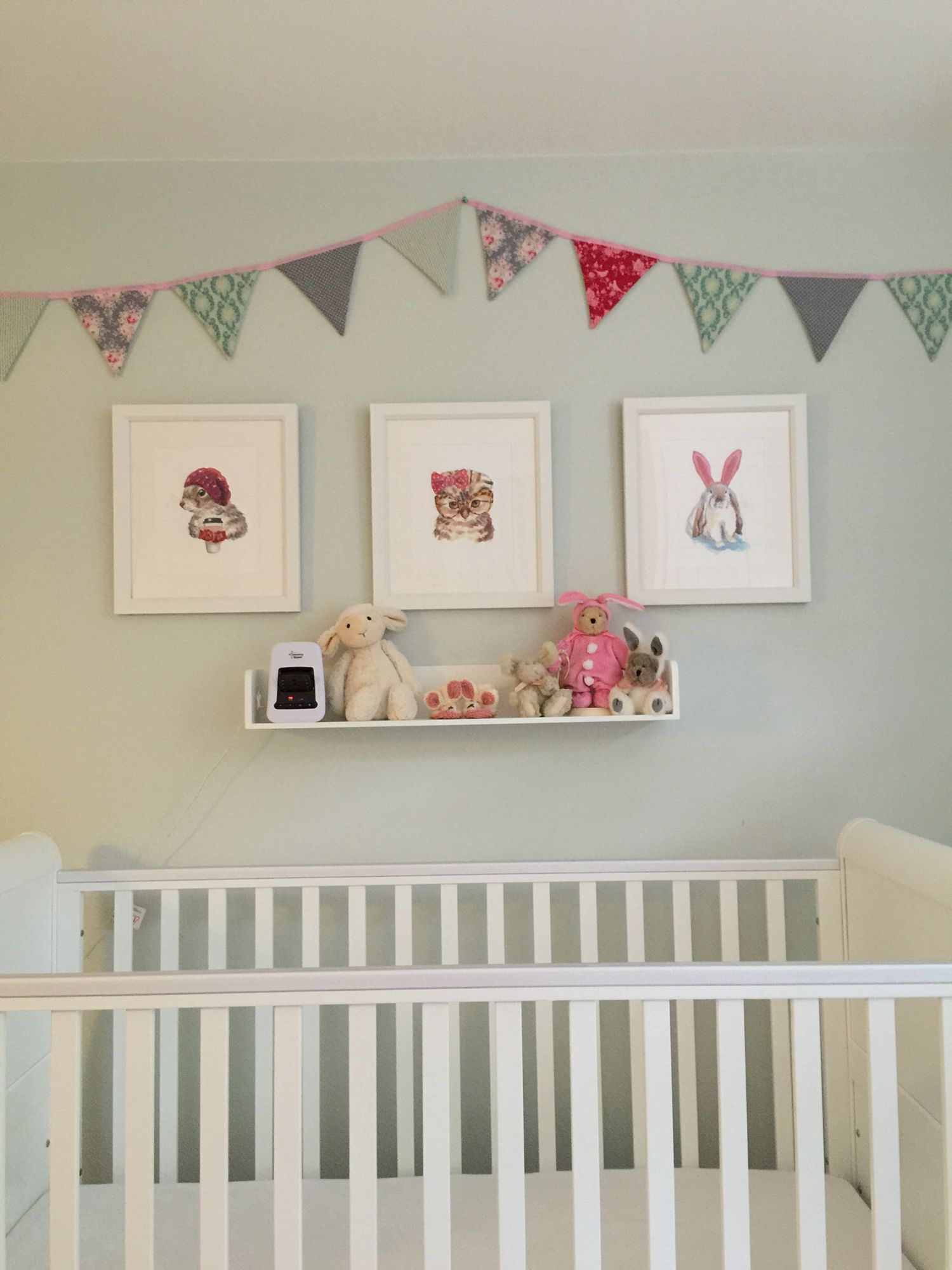 Duck egg blue nursery with bright pink punting and cute ...