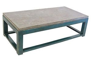 Tristan Coffee Table, Blue/Silver