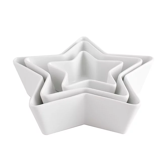 White Star Shaped Bowls 3 Pack Home