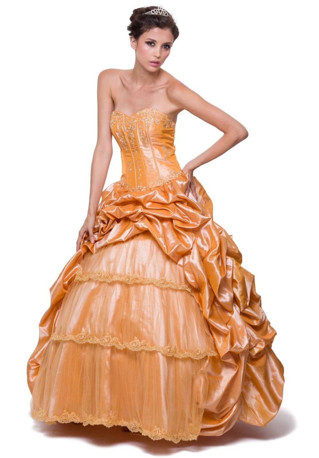 On special limited stock long poofy gold cinderella dress