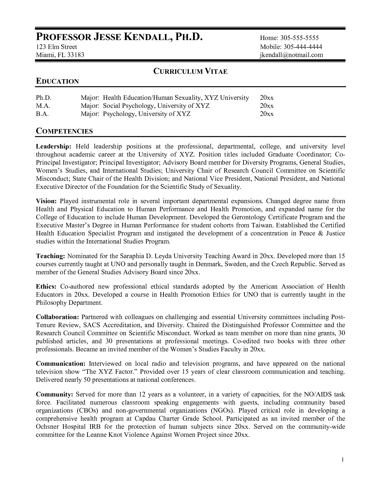 Examples Of Cv And Resume Curriculum Vitae College Professor Professor Resume