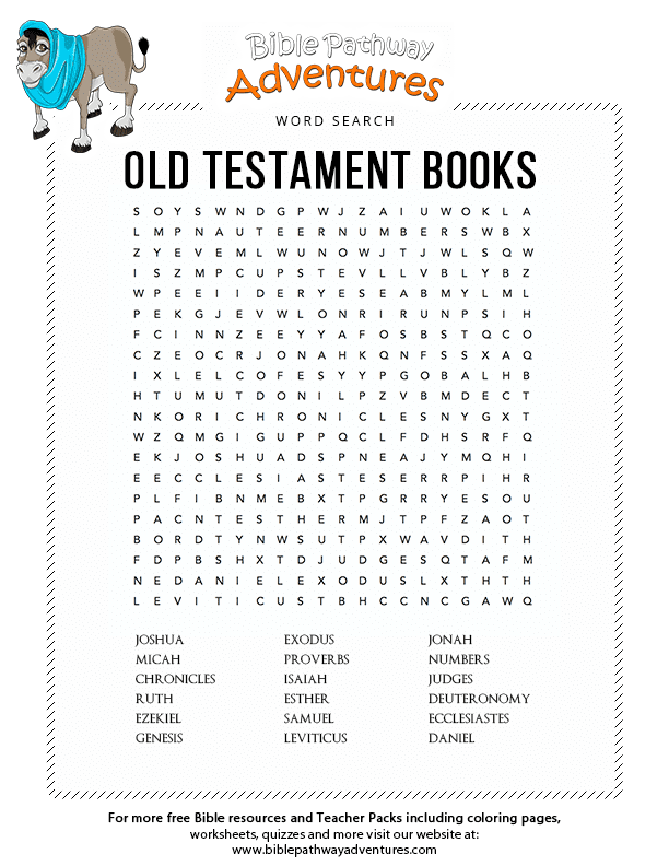 Old Testament Books Tanakh Bible Word Searches New Testament Books Bible Worksheets