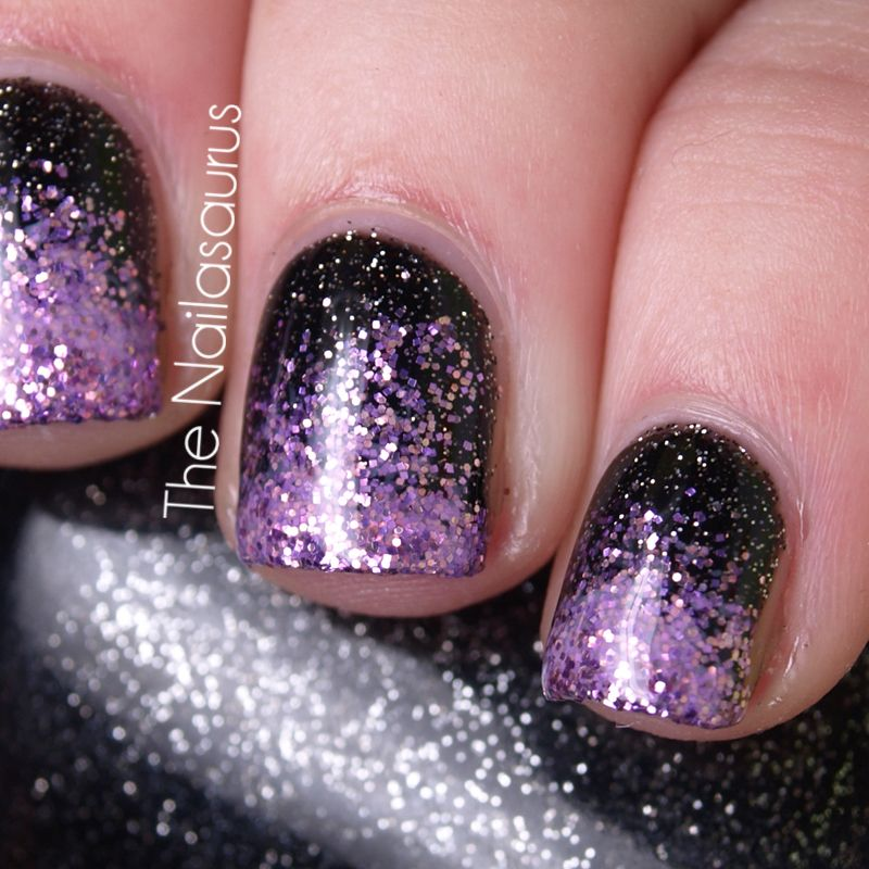 Easy nail designs - Black And Purple Glittery Nails Easy Nail Designs Nails