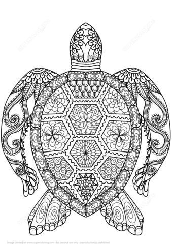 Coloriage Mandala Animaux Tortue.Coloriage Zen Les Animaux Coloriages Turtle Coloring Pages