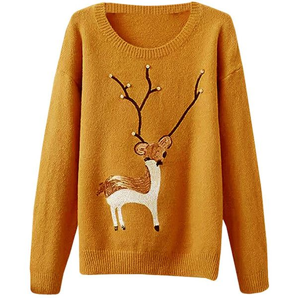 Womens Crewneck Deer Pattern Beaded Pullover Sweater Yellow (€12 ...