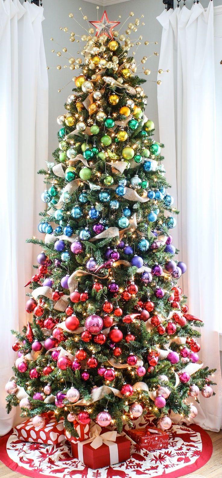 Christmas Tree Filled With Christmas Balls Christmas Christmas Tree Christmas Ornaments Christ Rainbows Christmas Colorful Christmas Tree Christmas Inspiration
