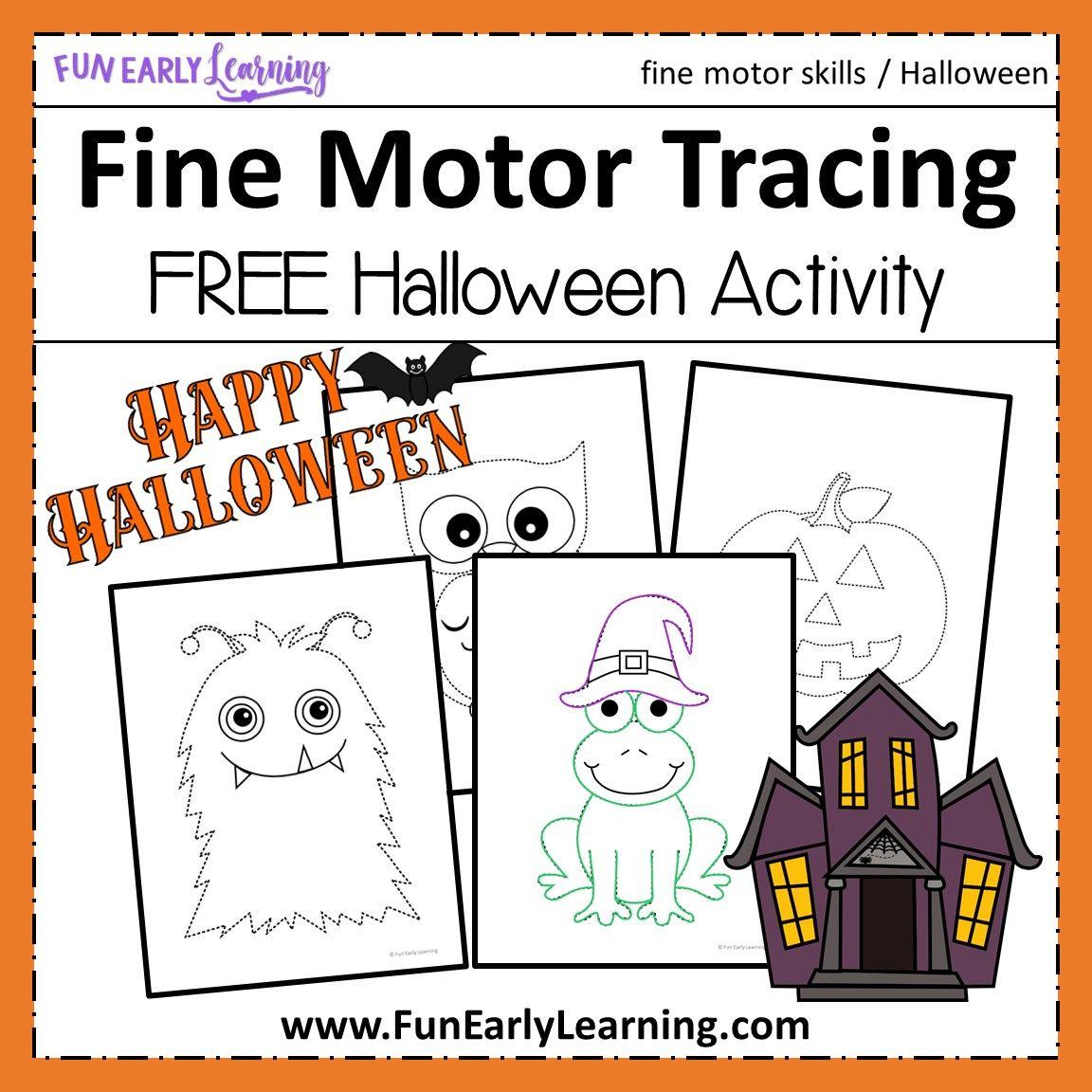 Halloween Fine Motor Tracing Free Printable