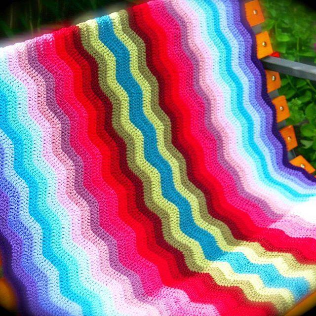 And a river runs through it!  #crochet #crocheted #crochetlove #crochetblanket #ripple #river #stylecraftspecialdk #etsy #handmade